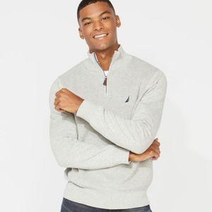 NAUTICA Zip Front Mock Neck Sweater Gray